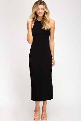 """""""Sophistication"""" Black Sleeveless Fitted Dress With Side Slit"""