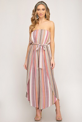 """Brunch Babe"" Tube Multi Striped Woven Jumpsuit"