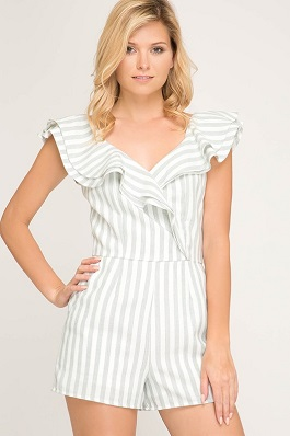"""Sweet Caroline"" Blue Striped Woven Ruffle Detail Romper"