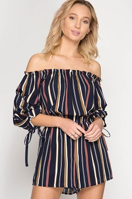 """Lila"" Striped Off Shoulder Romper"
