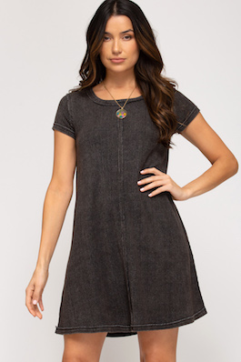"""""""Simple Life"""" Charcoal SS Garment Dyed T-Shirt Dress"""