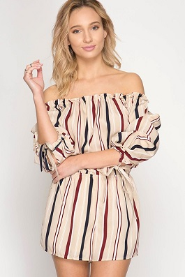 """Lila"" Taupe Striped Off The Shoulder Romper"