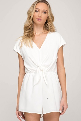 """Say My Name"" White Front Tie Romper"
