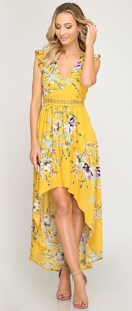 """Among The Wildflowers"" Yellow Ruffle Sleeve Floral Print Maxi"