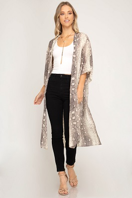 """Venomous"" Taupe Snake Skin Printed Duster"