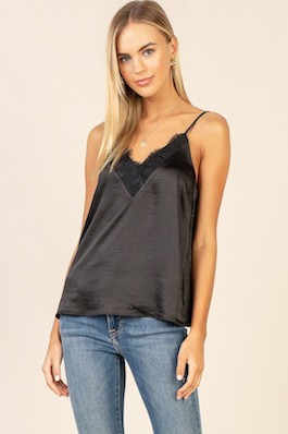 Black Lace Detail Tank With Adjustable Straps