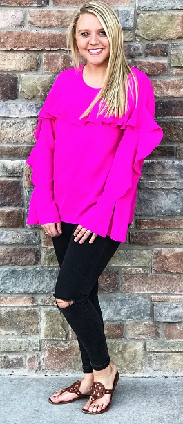 """Bright Eyes"" Hot Pink Ruffle Top"