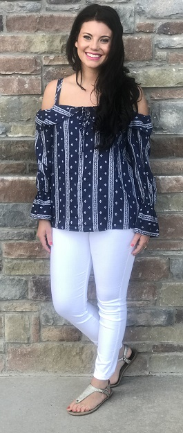 """Retro Girl""Navy/White Cold Shoulder Top"