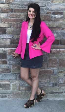 """Stand Out"" Bright Pink Blazer With Sleeve Detail"