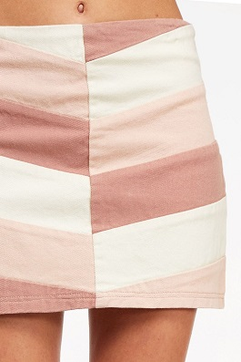 """Blushin"" Pink Color Block Skirt"