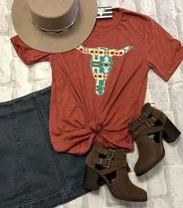 Rust Serape Steer Head T-Shirt