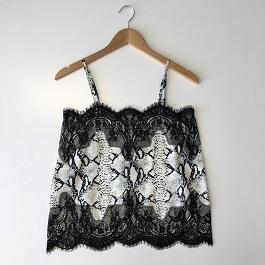 Snake Skin Tank With Lace Detail