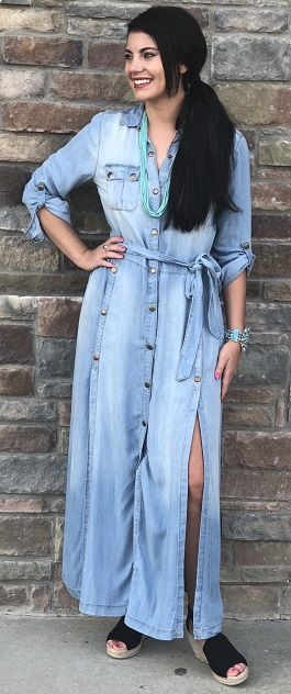 """Country Blues"" Denim Belted Maxi Dress"