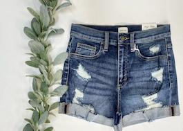 Sneak Peek Distressed Cuffed Shorts