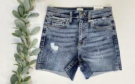 Sneak Peek Raw Hem Denim Shorts