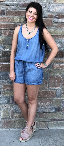"""Drifter"" Sleeveless Denim Romper"
