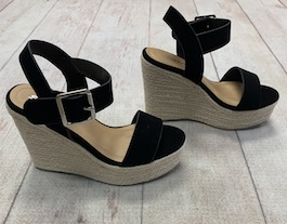 Black Wedge With Natural Bottom