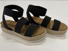Black Elastic Strap Espadrille Sandal