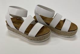 White Elastic Strap Espadrille Sandal