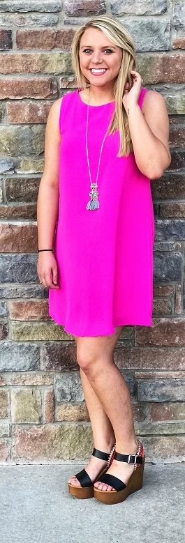 """Pretty Girl"" Bright Pink Sleeveless Dress"