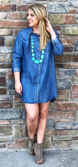 """Denim Darling"" Button Down Med Wash Denim Dress"