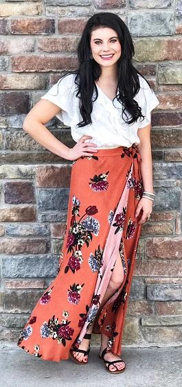 """Bohemian Love""  Long Floral Maxi Wrap Skirt"