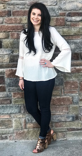"""Rachel"" Ivory Lace Insert Long Sleeve Top"