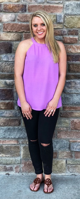 """Day Or Night"" Lilac Halter Tank"