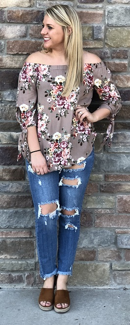 """Garden Of Love"" Mocha Off Shoulder Top"