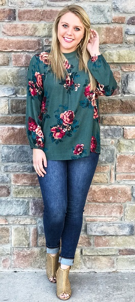 """Deep Beauty"" Olive Floral Long Sleeve Top"