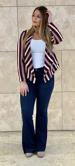 """Office Girl"" Burgundy Striped Blazer"