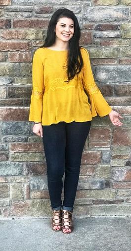 """Rachel"" Mustard Lace Insert Long Sleeve Top"