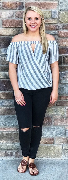 """Bree"" Striped Off Shoulder SS Top"