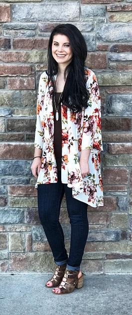 """""""Abigail"""" White Floral Kimono"""