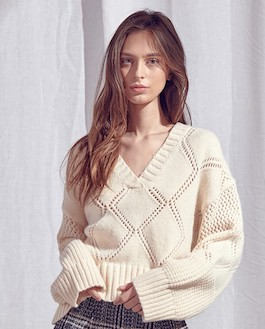 """""""Forevermore"""" Ivory Open Weave Knit Pullover Sweater"""