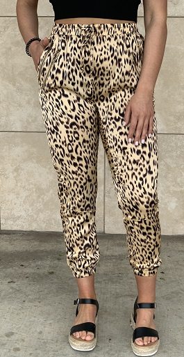 """Safari Girl"" Leopard Zipper Detail Joggers"