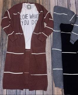 """""""Fireside"""" Long Striped Cardigan"""