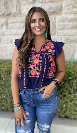 """Summer"" Navy Floral Embroidered Top"