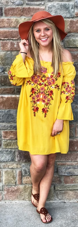 """""""Sunrise Fiesta"""" Yellow Embroidered Off The Shoulder Dress"""