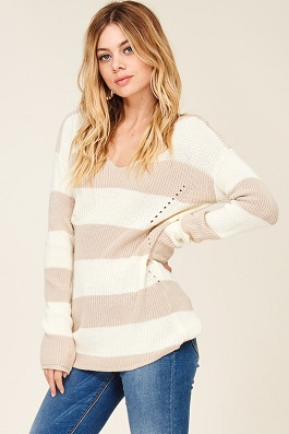 """Brynn"" Taupe & Ivory Lightweight Knitted Sweater"