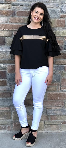 """Gold Digger"" Black Ruffle Top With Gold Detail"