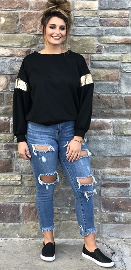 """Black & Gold"" Pullover With Sequin Trim Sleeve Detail"