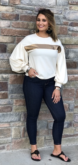 """A Fine Line"" Cream LS Top With Gold Trim"