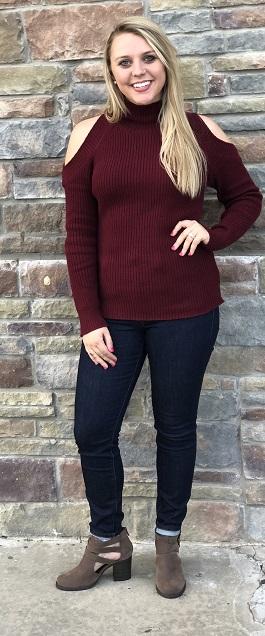 """""""Cold Shoulder"""" Burgundy Cold Shoulder Sweater"""