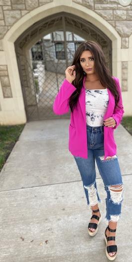 """Latest Obsession"" Neon Pink Blazer"
