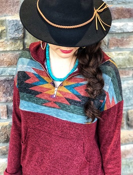 """Take Me To The Mountains"" Burgundy Multi Aztec Pullover"