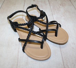 Black Braided Sandal With Buckle