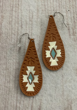 Tan Tear Drop Leather Earrings With Turquoise Design