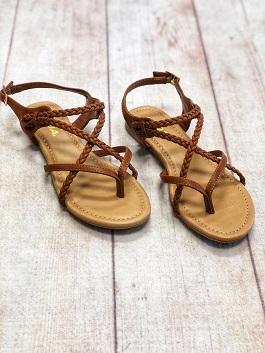 Tan Braided Flat Sandal (Topping)