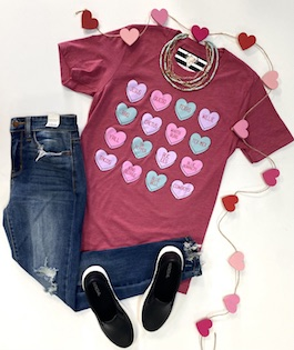 Texas Hearts Graphic T-Shirts